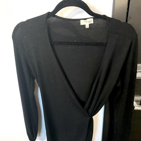 Wilfred Free black tie up wrap long sleeved top
